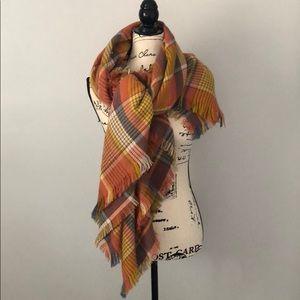 Madewell Multi Plaid Print Blanket Scarf